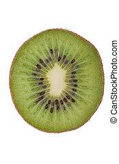 Macro shot of a kiwi isolated on white