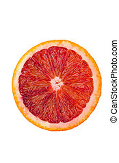 Macro shot of a blood orange isolated on white