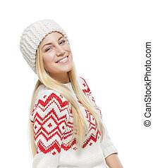 Beautiful blonde in winter clothes.
