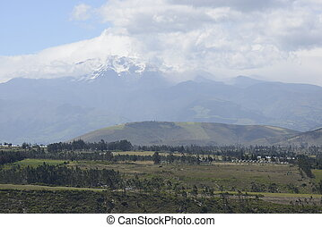 Latin American picturesque mountain view on volcano.