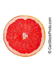 Macro shot of a red grapefruit isolated on white