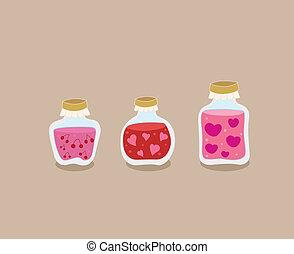 Strawberry, cherry and love Jam