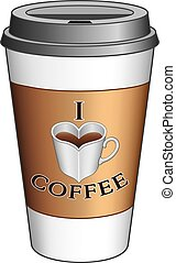 I Love Coffee To Go Cup is an illustration expressing the...