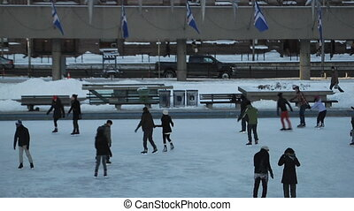 Toronto Public Scating Rink - Downtown of Toronto, Canada...