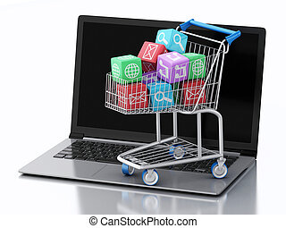 3d Laptop pc with Apps icons in shopping cart. - 3d renderer...