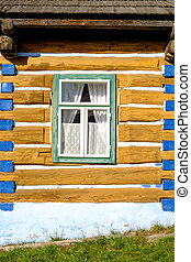 Detail view of old traditional colorful wooden house and...