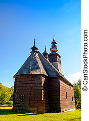 Old traditional Slovak wooden church in Stara Lubovna,...