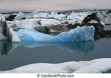 iceberg with reflection in water