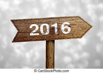 2016 Road Sign - New Year 2016 Ahead road sign with...