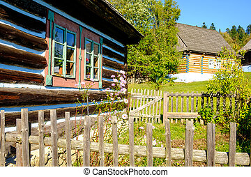 Detail of old traditional wooden house in Slovakia, Eastern...