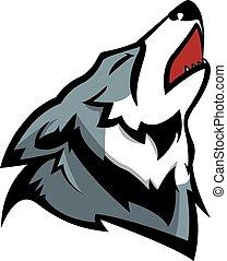 Howling wolf illustration design