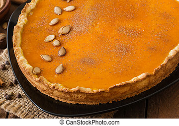 Pumpkin pie with cinnamon. - American pumpkin pie with...