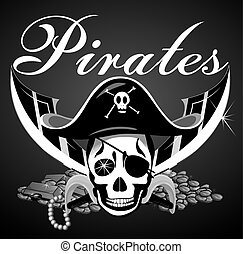 Pirate theme with skull and swords