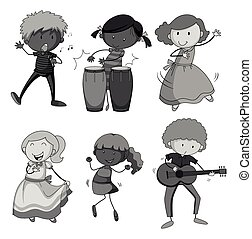 Children playing musical instrument illustration