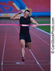 finish - athletic runner finis line track
