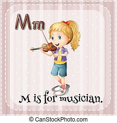 Flashcard M is for musician illustration