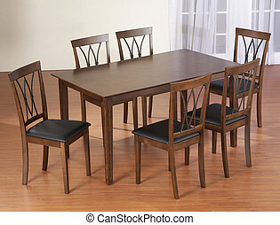 dinner table with six chair