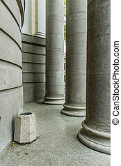 big columns - old building at the entrance standing columns