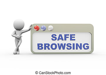 3d man with safe  browser