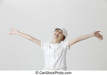 hands up - chinese girl with both hands up