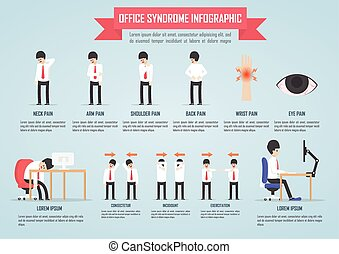 Office syndrome infographic template design, VECTOR, EPS10