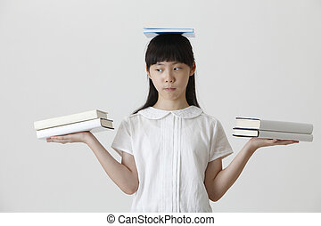 books on her head - chinese girl balancing with books