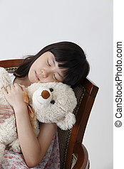 girl hugging teddy bear - chinese girl sleeping with teddy...