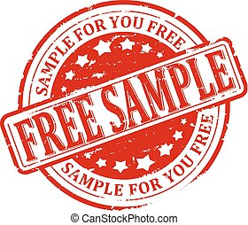 Scratched stamped - free sample - Damaged round red stamp...