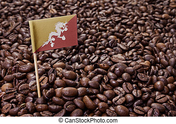 Flag of Bhutan sticking in coffee beansseries - Flag of...