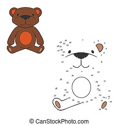Connect the dots game bear vector illustration - Connect the...