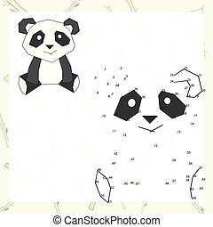 Connect the dots game panda vector illustration - Connect...