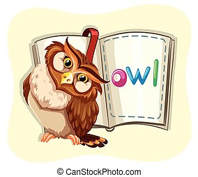 Cute owl and a book