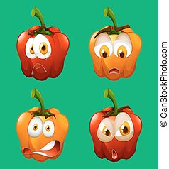 Facial expression on bell pepper illustration