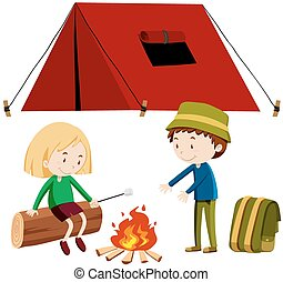 Two people camping out illustration