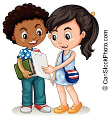 Boy and girl working together illustration