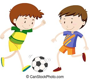 Two boy playing soccer