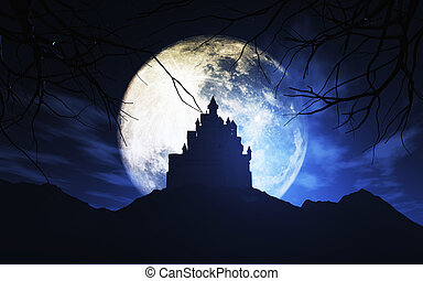 3D spooky castle against a moonlit sky - 3D render of a...