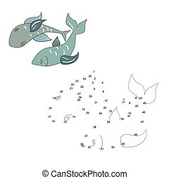 Connect the dots game fish vector illustration - Connect the...