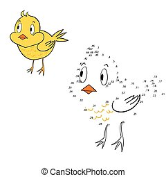 Connect the dots game chicken vector illustration - Connect...