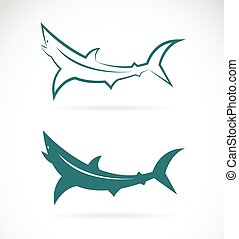Vector images of sharks design on a white background.