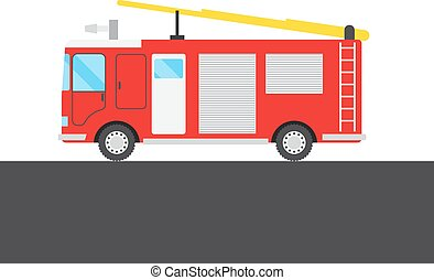 Red fire-engine picture - Red fire-engine on white and grey...
