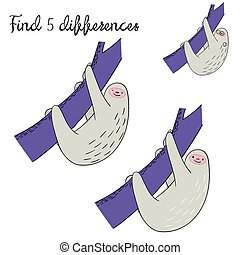 Find differences kids layout for game sloth doodle hand...