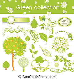 set of design elements. green collection.