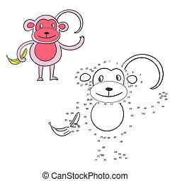 Connect the dots game monkey vector illustration - Connect...