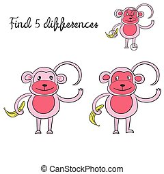 Find differences kids layout for game monkey