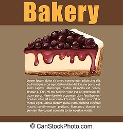 Poster design with blueberry cheesecake illustration