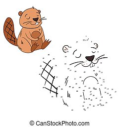Connect the dots game beaver vector illustration - Connect...