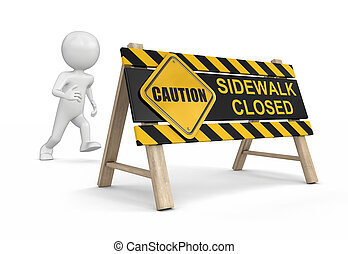 Sidewalk closed sign Image with clipping path