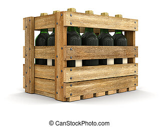 Wooden boxe with wine bottles Image with clipping path