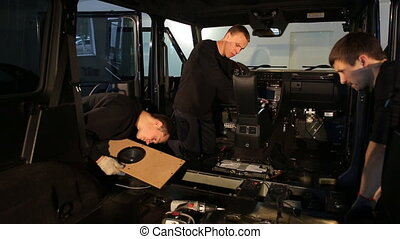 The guys dismantled the car for noise insulation, sound...